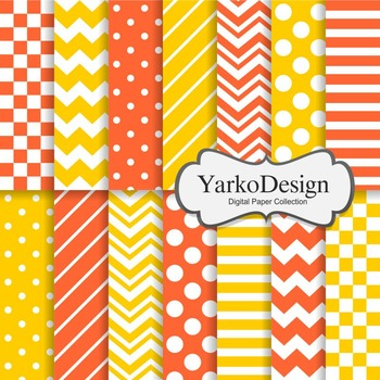 Tangerine And Yellow Basic Geometric Digital Paper Set, 14 Digital Paper Sheets