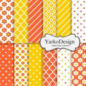 Tangerine And Yellow Floral Digital Scrapbooking Paper Set, 12 Digital Papers