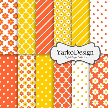 Tangerine And Yellow Floral Digital Scrapbooking Paper Set