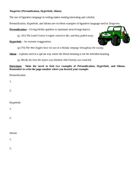 Tangerine (Bloor) Personification, Idiom, Hyperbole