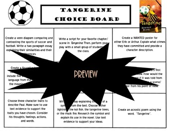 Tangerine Choice Board Novel Study Activities Menu Book Project Tic Tac Toe