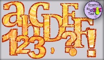 Tangerine Hurricane Letters and Numbers Clipart