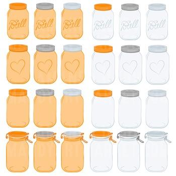 Tangerine Jars Clipart & Vectors - Ball Jar Clipart