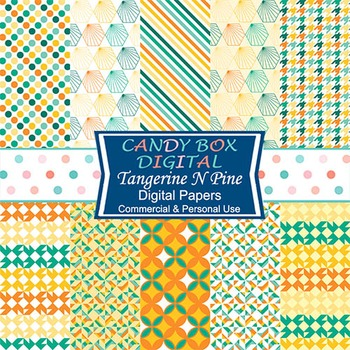 Tangerine N Pine Geometric Digital Papers - Commercial Use OK