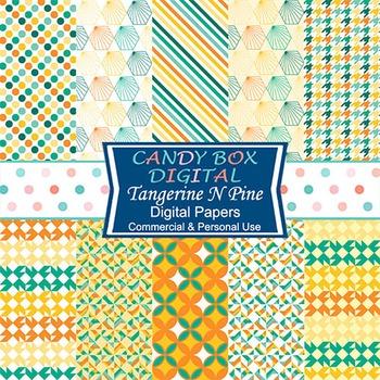 Tangerine N Pine Geometric Digital Papers - Commercial Use OK