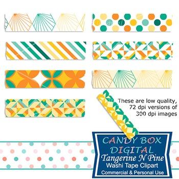 Tangerine N Pine Geometric Digital Washi Tape - Commercial Use OK