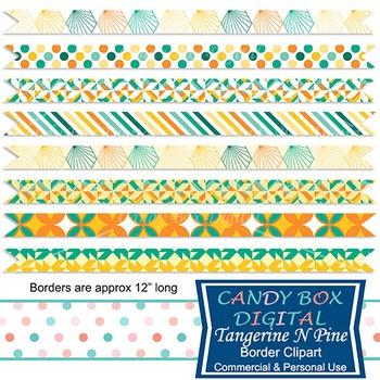 Tangerine N Pine Geometric Ribbon Border Clip Art - Commercial Use OK