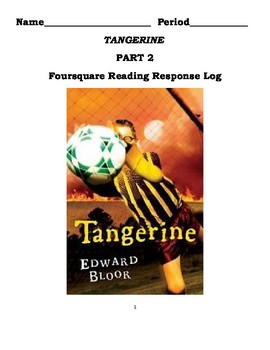 Tangerine Novel Four Square Reading Log - Part 2