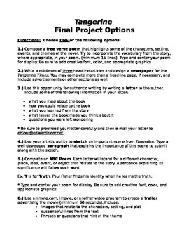 Tangerine Novel Project Options