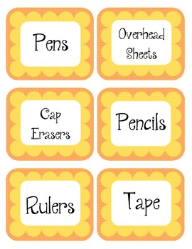 Tangerine Orange & Yellow Scalloped Polka Dot Labels