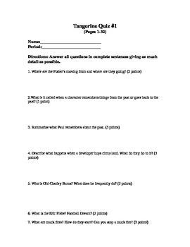 Tangerine Quiz #1 (Pages 1-32)