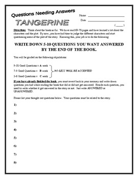 """""""Tangerine"""" Reading Strategy (Questioning) WS"""
