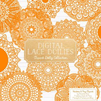 Anna Lace Orange Doily Vectors - Doily Clipart Images, Digital Doilies