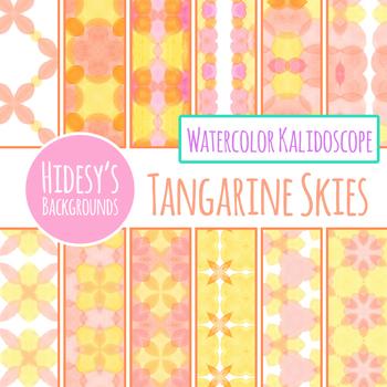 Tangerine Skies - Orange, Peach and Pink Watercolor Kalidoscope Digital Paper