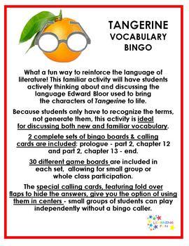Tangerine Vocabulary Bingo