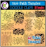 3 and 4 Path Tangle Maze Clip Art | Spaghetti Pathway Maze Clipart