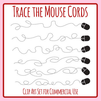Tangled Computer Mice Cords / Technology Tracing Lines Clip Art Set