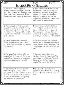 Math Movie Questions to accompany the movie Tangled End of the Year Activity