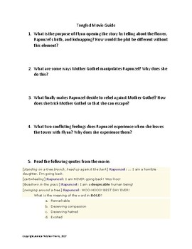 Tangled Movie Guide-Common Core Aligned for Middle School