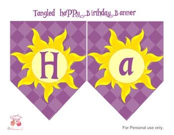 Tangled Rapunzel Happy Birthday Banner