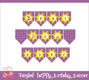 Tangled Rapunzel Happy Birthday Banner By 1Everything Nice