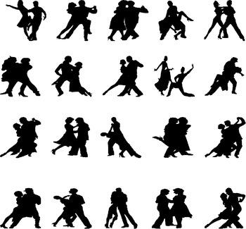 Tango silhouette digital clipart