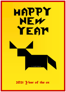 Tangram - 12 Chinese New Year Puzzles - Math Mats, Puzzle Cards & Activity