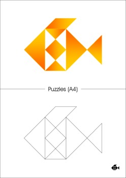 Tangram - 4 Little Fishes - Puzzle Cards & Math Mats