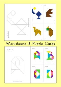 Tangram Animal Alphabet Mega Pack - Flash Cards / Word Wall / Worksheets / Video