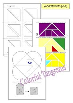 Tangram - 20 Beach / Summer Puzzles - Puzzle Cards & Math Mats
