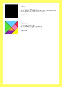 Tangram – 20 Beach / Summer Puzzles - Puzzles Cards and Pieces