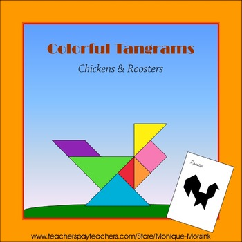 Tangram - Chickens & Roosters - Puzzle Cards and Pieces