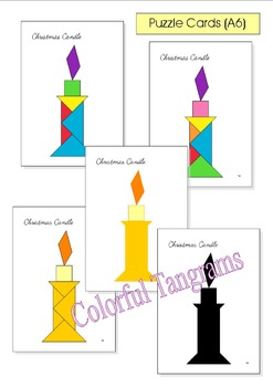 Tangram - 20 Christmas / Santa Claus Puzzles - Puzzle Cards & Math Mats