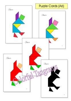 Tangram - 20 Circus Puzzles (2) - Puzzle Cards & Math Mats