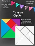 Tangram Clip Art- Transparent, White, Dotted, & Colored Pieces