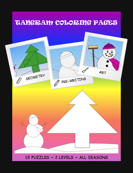 Tangram Coloring Pages - Geometry & Pre-writing & Art - All Seasons