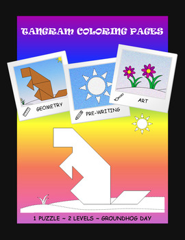 Tangram Coloring Pages - Geometry & Pre-writing & Art - Groundhog Day