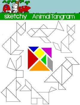 Tangram Dissection Animal Puzzles