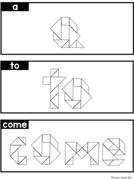 Pre-Primer Sight Words Tangrams - High Frequency Words