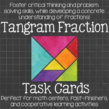 Tangram Fraction Task Cards  Math Centers