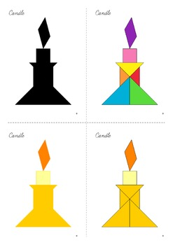 Tangram Freebie - Christmas Puzzle / Candle - Math Mats & Puzzle Cards