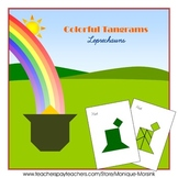 Tangram - Leprechauns / St.Patrick's Day - Puzzle Cards & Pieces (green edition)