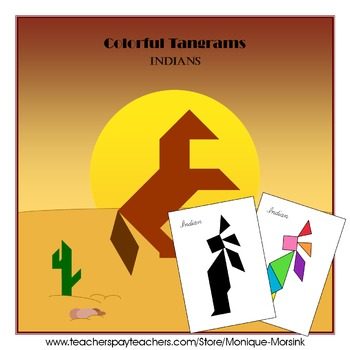 Tangram - Native American Indians / Thanksgiving - Puzzles Cards and Pieces