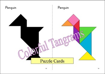 Tangram - 20 Penguin / Antarctica Puzzles - Puzzle Cards and Pieces