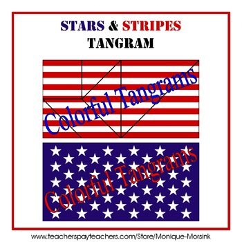 Tangram - President's Day - Stars & Stripes + Multicolor Puzzle Pieces