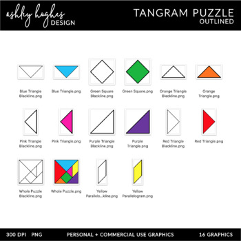 Tangram Puzzle Clipart - Outlined - [Ashley Hughes Design] | TpT