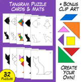Tangram Puzzle Task Cards, Mats, and Clip Art