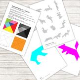 Tangram Puzzle - with 12 animal pattern silhouettes - printable PDF