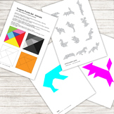 Tangram Puzzle - with 12 animal pattern silhouettes - prin