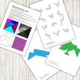 Tangram Puzzle - with 12 bird pattern silhouettes - printable PDF
